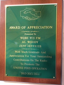 WQBE honorary plaque
