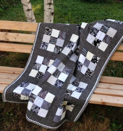 Nine patch, 100% cotton bridal quilt created in a formal color scheme, machine pieced and quilted