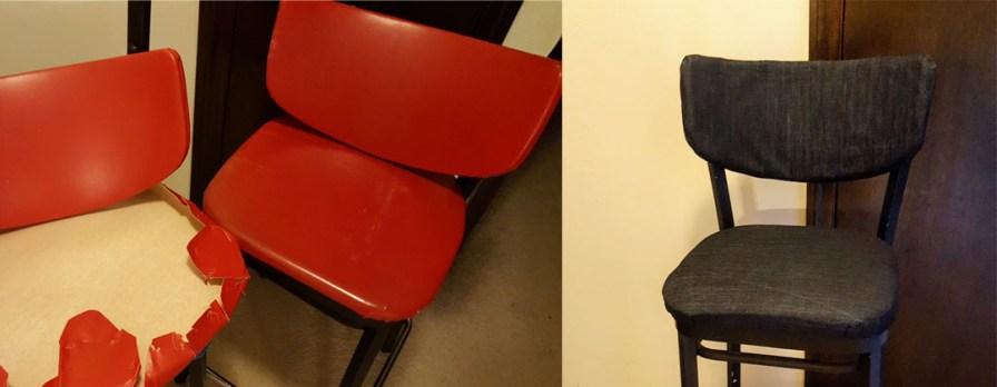 Vinyl bar stools recovered in denim
