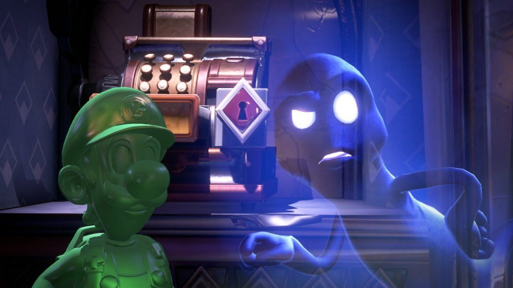 Gooigi and a ghost share a scene in Luigi's Mansion 3.