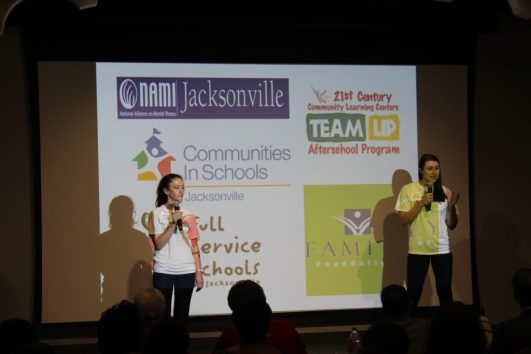 """UNF students Dayna Cohen, left, and Jessica Stephens present """"Mindful Friends"""" during United Way of Northeast Florida's inaugural Upstream competition. The second year of Upstream kicked off Oct. 15 at JaxCoE's Innovation Conference."""