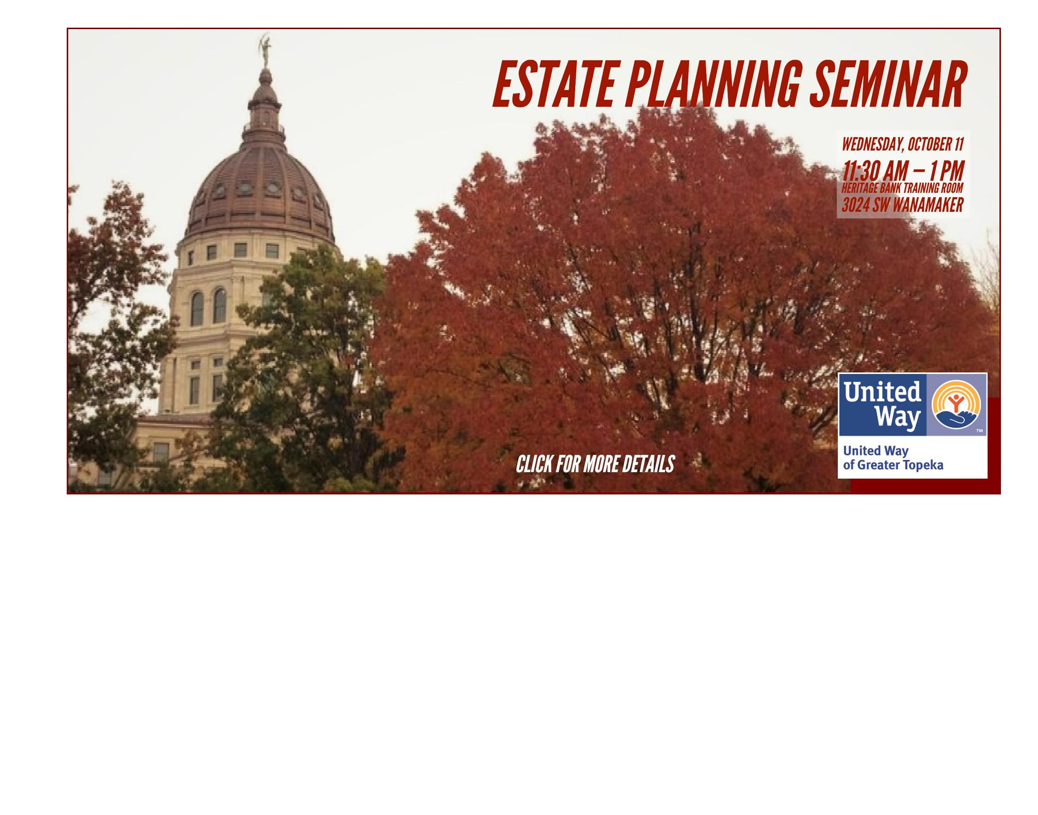 Fall photo with Estate Planning Seminar information