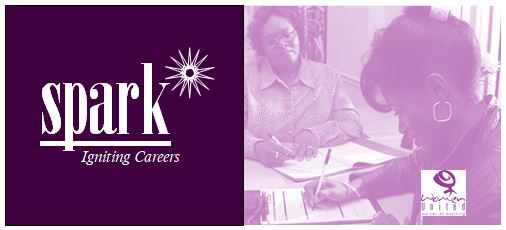 Graphic showing two women and the Spark, Igniting Careers logo