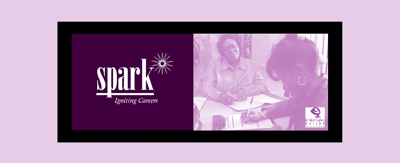Graphic showing the Spark logo and two women filling out job applications