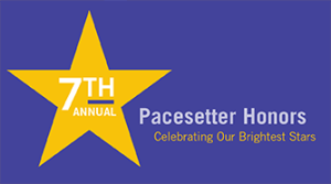 purple banner with yellow star that says 7th annual Pacesetter Honors