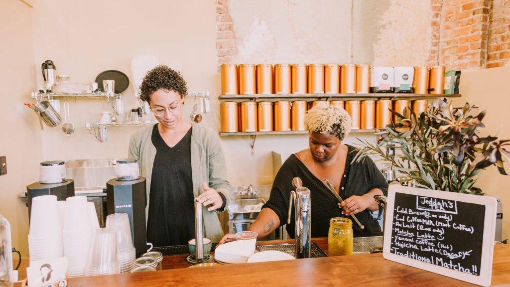 Morgan Siegel behind the counter at Jeddah's Tea