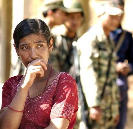 Terrified local women of Kavre Bhanjyang.