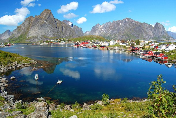 View of the small village of Reine in Lofoten, Norway.