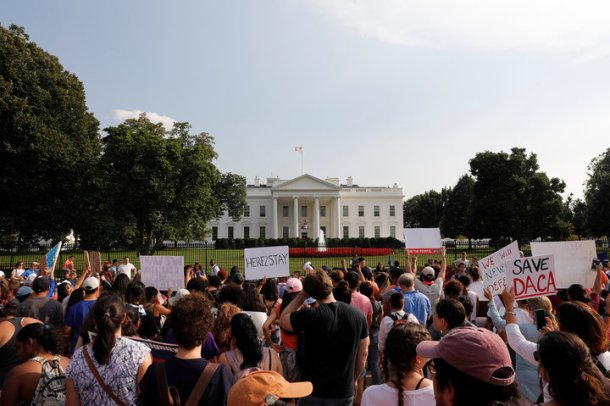 Protestors gather outside the White House to protest President Donald Trump's plan to repeal DACA in Washington