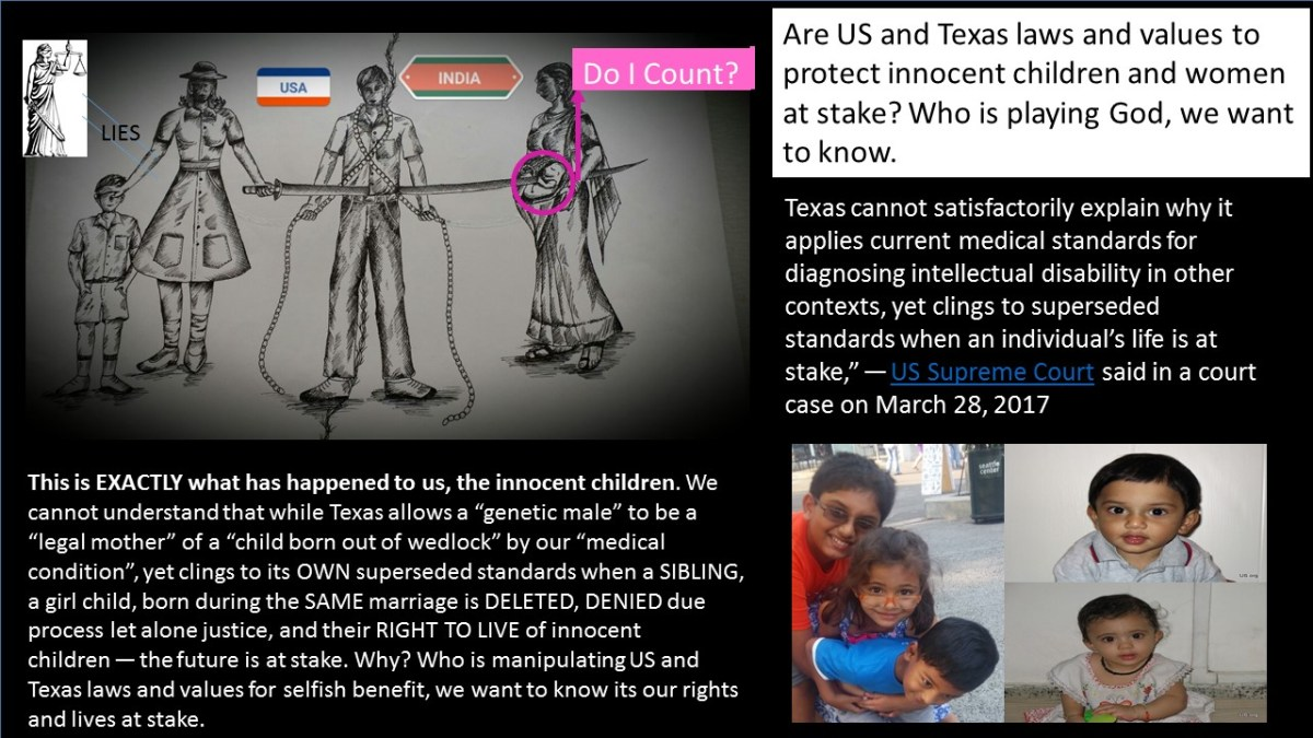 Immigrant Texas Intersex Adult Niti Atre Forced Girl Child, A Sister Into Slavery for 6+ Years in India by Knowingly Making Her Stateless