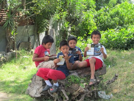 Some kids that we handed the booklets out to that we saw while working on our last team project.