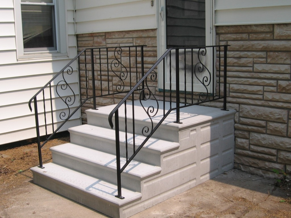 Precast Concrete Steps In Chicago Il – Unit Step Company | Building A Handrail For Concrete Stairs | Steel Handrail | Brick | Deck Railing | Outdoor Stair | Precast Concrete