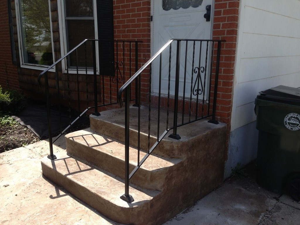 Photo Gallery Precast Concrete Steps And Iron Vinyl Railing | 3 Step Stair Railing | Manufactured Home | Basic Deck | Residential Stair | 2 Bar | Three Step