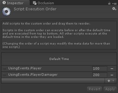 Events - Custom Events - Script Execution Order