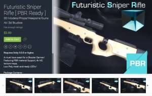Futuristic Sniper Rifle [ PBR Ready ] for free (unityassets4free)