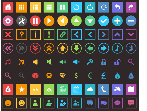 6000+ Flat Buttons Icons Pack