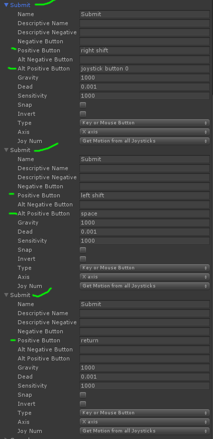Adding Multiple Submit Keys to Input Manager