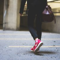 Woman wearing Nike sneakers