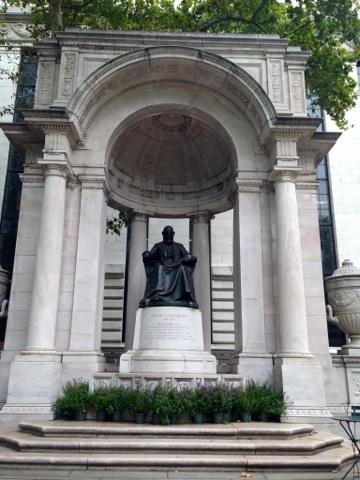 Full bronze and marble memorial to namesake, William Cullen Bryant