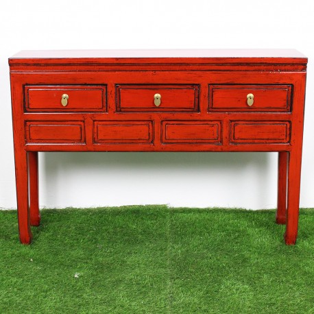 buffet chinois patine rouge l128 ag005