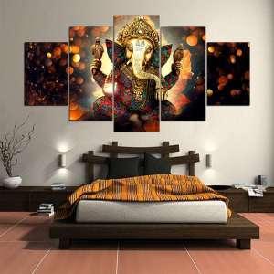 Décoration Murale en 5 pièces Hindou Ganesh - L'univers-karma