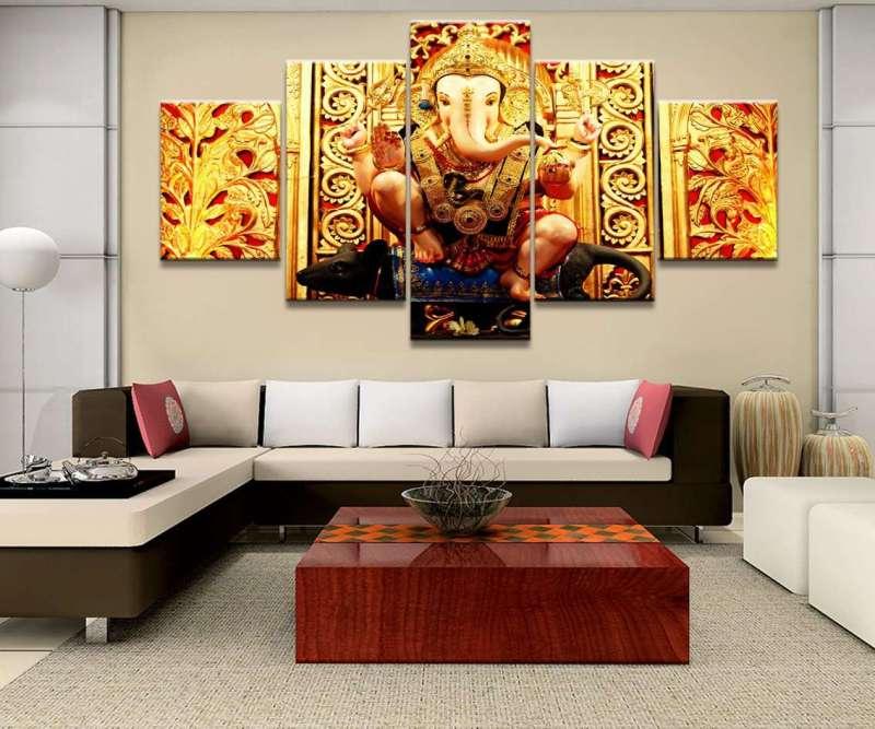Décoration Murale en 5 pièces Hindou Ganesh Doré - L'univers-karma