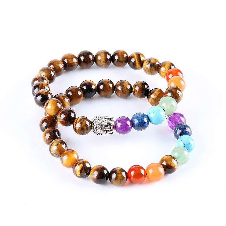 "Bracelet Bouddha ""Oeil de Tigre et 7 Chakras"" - L'univers-karma"