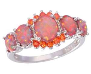 Bague de désir en opale de feu et grenat - L'univers-karma