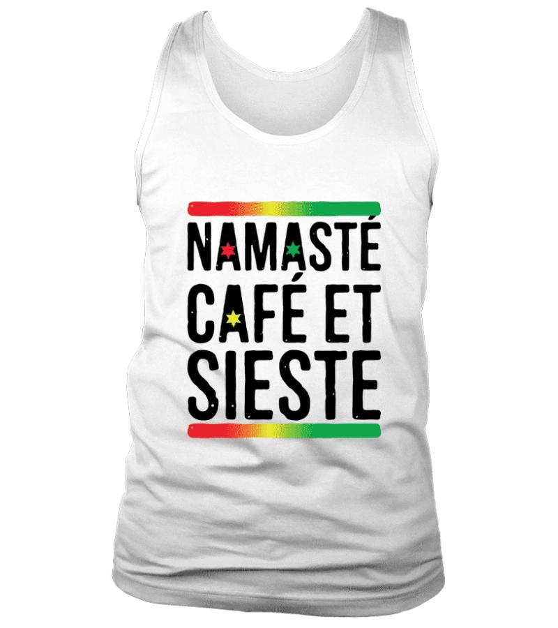 """Débardeur """"Namasté, café et sieste"""" Pour homme - L'univers-karma"""