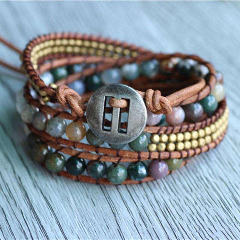 """Bracelet Wrap """"Energie Lumineuse"""" en Agate Indienne - L'univers-karma"""