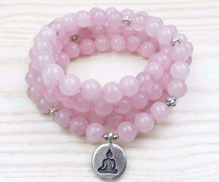 Bracelet Mala Rose en Quartz 108 Perles Guérison et Amour - L'univers-karma