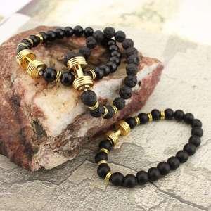 Bracelet Haltère en Pierre de Lave et Onyx - L'univers-karma