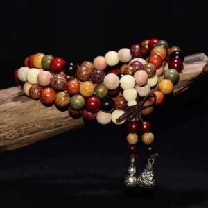 Bracelet Mala Tibétain 108 Perles en Bois de Santal - L'univers-karma
