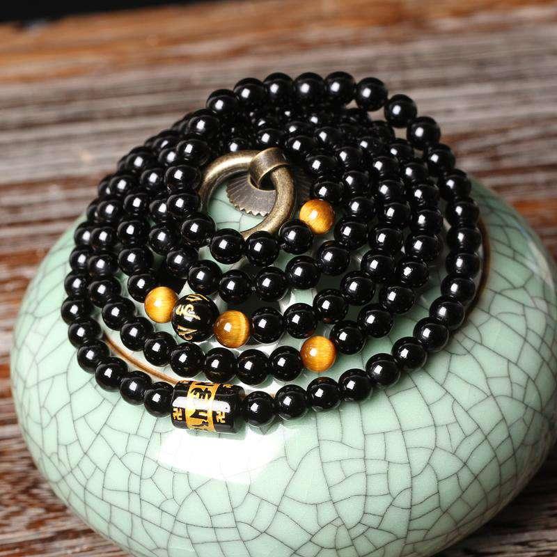 Bracelet Mala de protection Bouddhiste en obsidienne et œil de tigre - L'univers-karma