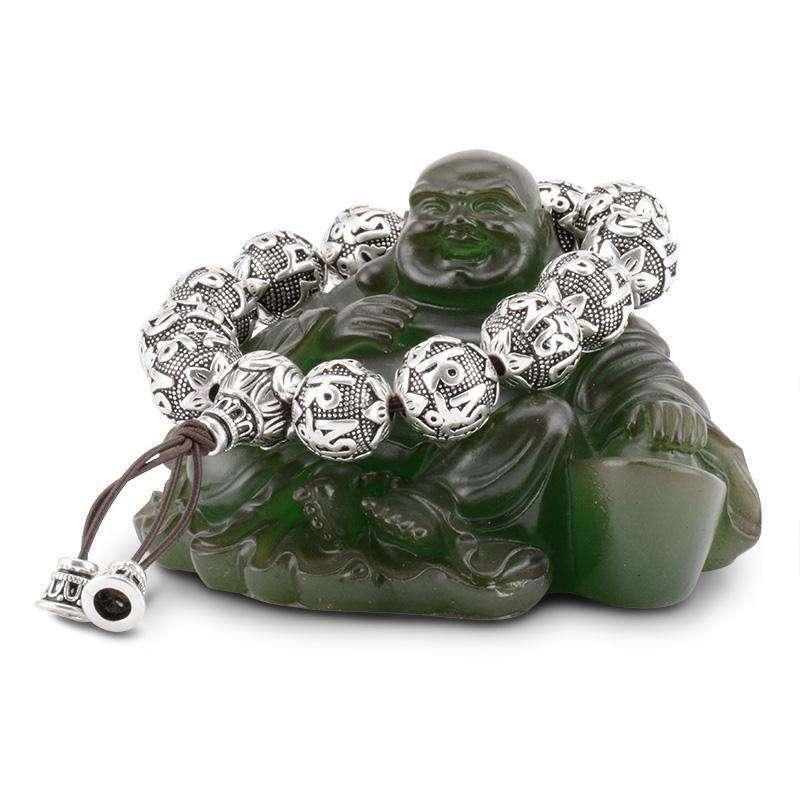 Bracelet de Prière Bouddhiste en Argent Massif - L'univers-karma