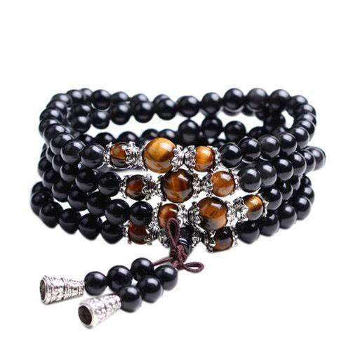 Bracelet Mala Bouddhiste en obsidienne et œil de tigre - L'univers-karma