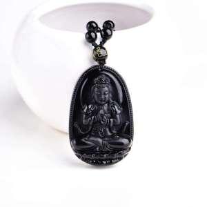 Amulette Bouddha Porte Chance en Obsidienne - L'univers-karma