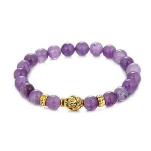 Bracelet Bouddha de Prospérité en Pierres Naturelles d'Améthyste - L'univers-karma
