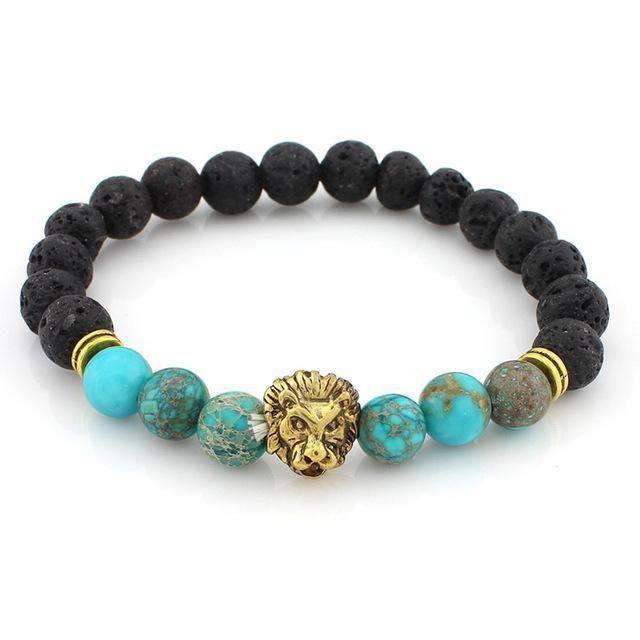 """Bracelet """"Courage du Lion"""" en Pierre de Lave - L'univers-karma"""
