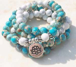 Bracelet Mala 108 Perles Jaspe Océan et Howlite - L'univers-karma