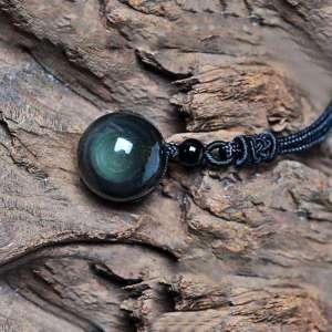 Collier en Obsidienne Arc en ciel noué à la main - L'univers-karma