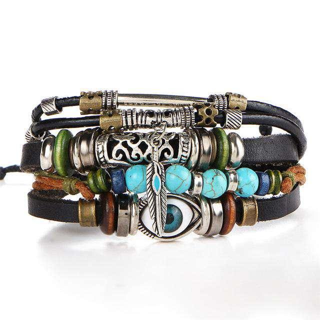 Bracelet Boho Spirituel en Cuir Ajustable et Unisexe - L'univers-karma