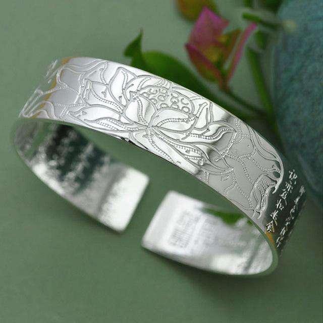 """Bracelet """"Sutra du Lotus"""" - Argent Tibétain - L'univers-karma"""
