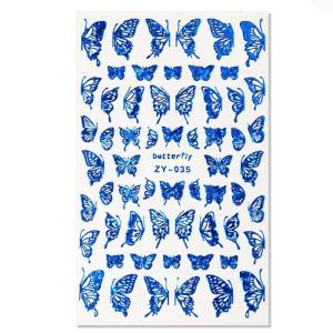 stickers papillon ongle bleu