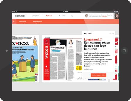"""Der digitale Zeitungs-Kiosk """"Blendle"""": eine Mischung aus iTunes und Facebook. (Screenhshot: blendle.nl)"""