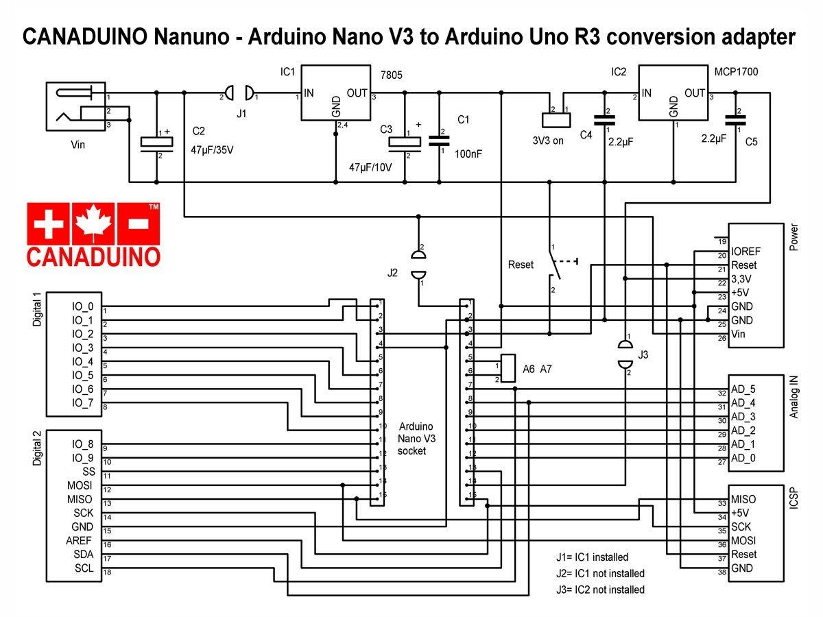 CANADUINO Arduino Nano to Uno Adapter Converter NANUNO - smarter electronics by universal solder