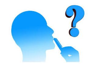 Picture of a person thinking, holding a pen to their lips looking at a question mark icon