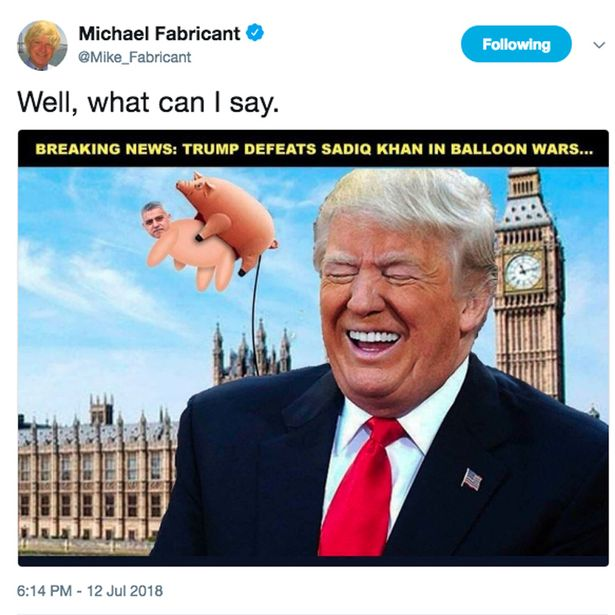 Michael Fabricant retweets a racist image of two pigs in sex act with Sadiq Khans face on it/