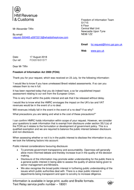 The HMRC's first response to a FOI for their Brexit Impact Assessments