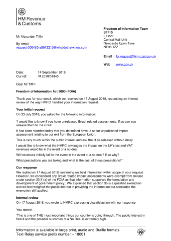 HMRC Internal Review response to Alexander Tiffin for Brexit Impact Assessments